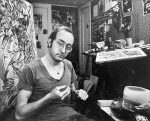 Jimmy Jalapeeno, aka Albert J. Bonar, in his studio, mid 70s